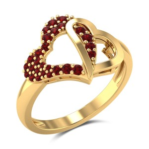 Twin Hearts Gemstone Ring