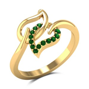 Dual Emerald Leaf Ring