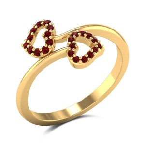 Twin Ruby Heart Ring