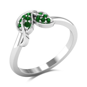 Selene Emerald Leafy Ring