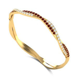 Twisted Delphine Diamond Bangle
