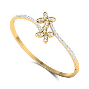 Dual Flower Wavy Openable Diamond Bangle