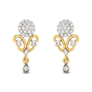 Shimmering blue Diamond Earrings