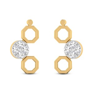 Classy Hexagons Diamond Earrings