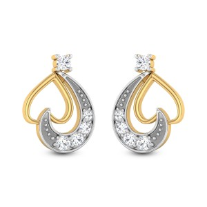 Donatella Heart Diamond Stud Earrings