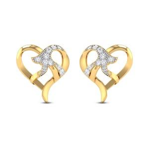 Chiara Bell flower Heart Diamond Stud Earrings