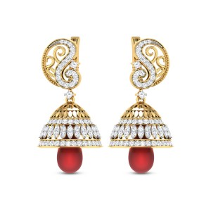 Persimmon Diamond Jhumkas