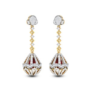 Dropping Elliptical Diamond Earrings