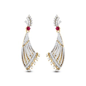 Leafy Flat Horn Diamond Earrings