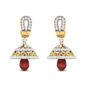 Meneleus Ruby Drop Diamond Jhumkas