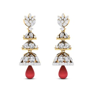 Minerva Three Layer Ruby Drop Diamond Jhumkas