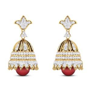 Bell Flower Ruby Drop Diamond Jhumkas