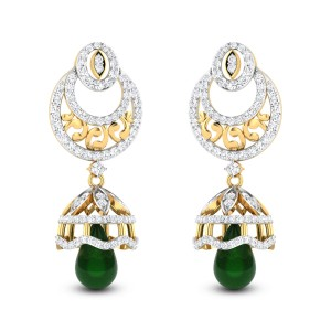 Aatish Emerald Drop Diamond Jhumkas