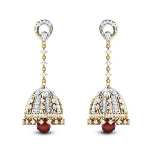 Abhav Ruby Drop Diamond Jhumkas