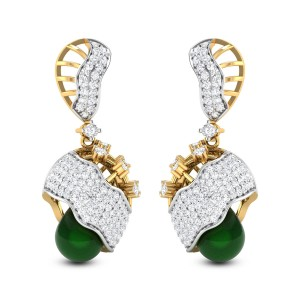 Achintya Emerald Drop Diamond Jhumkas