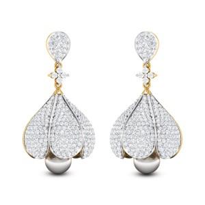 Baruni Pearl Drop Diamond Jhumkas