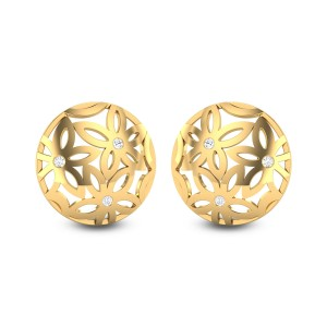 Ekaa Floral Pattern Diamond Stud Earrings