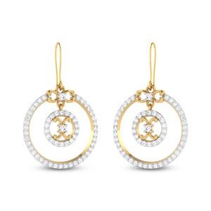 Gray Circular Diamond Hanging Earrings