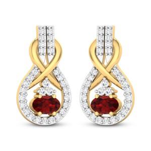 Zane Diamond and Ruby Stud Earrings