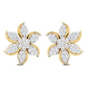 Zaylee Floral Diamond Stud Earrings