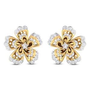 Larkin Floral Diamond Stud Earrings