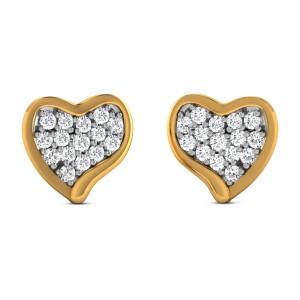 Foolan Diamond Heart Stud Earrings