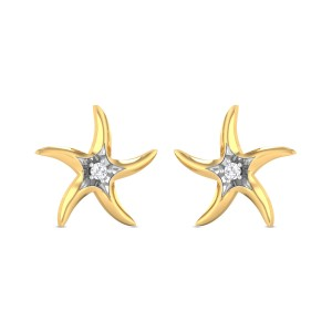Acacia Star Yellow Gold Diamond Earrings