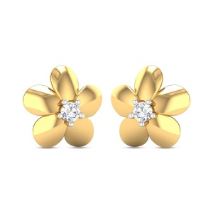 Altheda Flower Girl's Yellow Gold Diamond Earrings