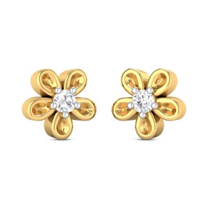 Alcina Girl's Yellow Gold Diamond Earrings