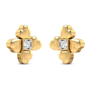 Amilious Yellow Gold Diamond Stud Earrings