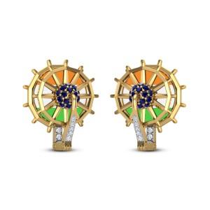 Ashoka Chakra Diamond Foldable Earrings