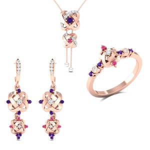 Amethyst Diamond Set