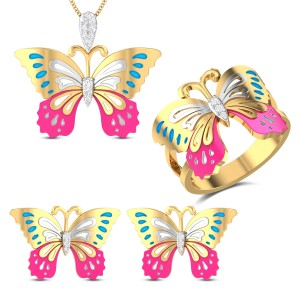 Emma Butterfly Diamond Jewellery Set