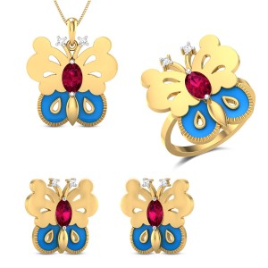 Cynthia Yellow Gold Butterfly Diamond Jewellery Set
