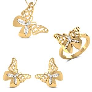 Calisto Yellow Gold Butterfly Diamond Jewellery Set