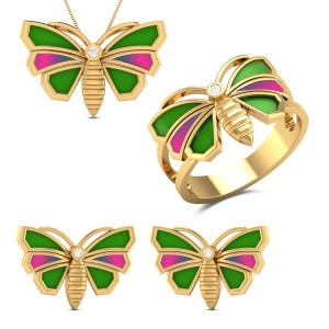 Aricia Butterfly Diamond Jewellery Set