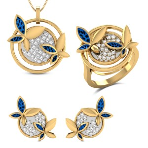 Dione Yellow Gold Butterfly Diamond Jewellery Set