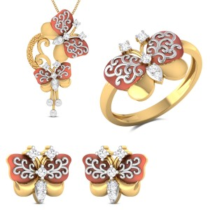 Eurybia Yellow Gold Butterfly Diamond Jewellery Set