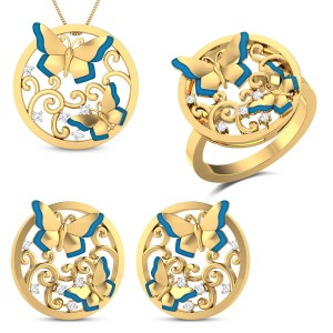 Euthalia Yellow Gold Butterfly Diamond Jewellery Set