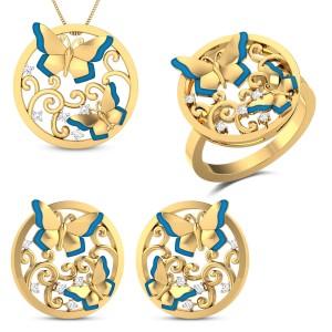 Euthalia Yellow Gold Butterfly Diamond Jewellery Set