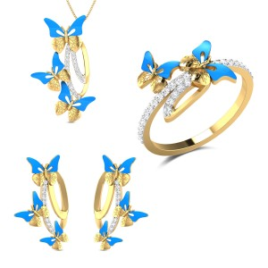 Enos Yellow Gold Butterfly Diamond Jewellery Set