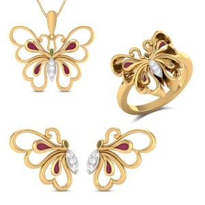 Lucinia Yellow Gold Butterfly Diamond Jewellery Set