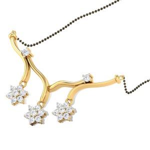 Falling Flowers Diamond Mangalsutra