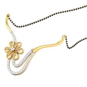 Curly Flower Diamond Mangalsutra