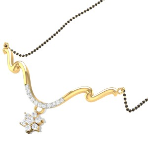 Wavy Floral Diamond Mangalsutra