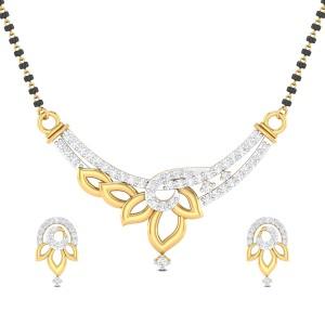 Bahula Floral Diamond Mangalsutra Set