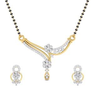 Ember Floral Diamond Mangalsutra Set