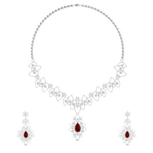 Komal Floral Ruby and Diamond Necklace Set