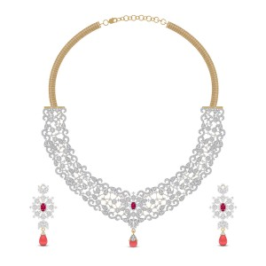 Kaashvi Ruby Drop Diamond Necklace Set