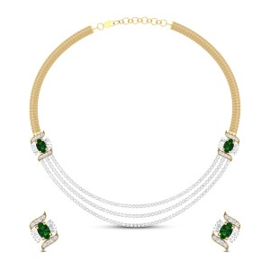 Latasha Trio Emerald and Diamond Necklace Set